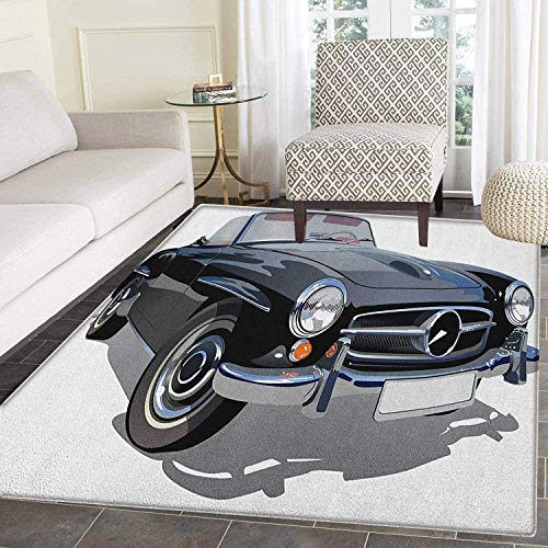 (Cars Anti-Skid Area Rug Classical Retro Vehicle Antique Convertible Prestige Old Fashion Revival Door Mat Increase 5'x6' Black Pale Grey White)