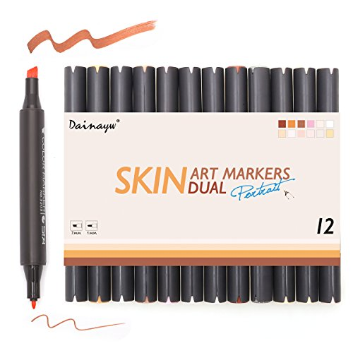 Dainayw Skin Tone Markers, Dual Tip Alcohol Marker Pens,Colorless Blender, Professional Sketching Pens For Drawing, Face, Portrait, Illustration Manga Drawing Comic Books, - Your Tone For Colors Skin