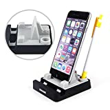 KMASHI® New version Upgrade Universal Soft Silicone Desk Desktop Dual Stand Mount Cradle Pad (Support To Hold Two Devices) with Round Stylus Pen Holder and Cable Cord Organizer hand free