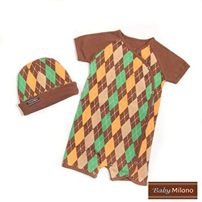 Baby Milano Brown Argyle- Hat & Body Suit