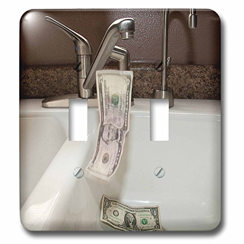 3dRose LLC lsp_50514_2 A White Porcelain Kitchen Sink with A Five and Two One Dollar Bills Falling Into It Down The Drain Double Toggle Switch by 3dRose