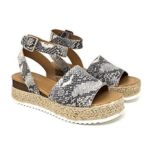SODA Topic Topshoe Avenue Women's Open Toe Ankle Strap Espadrille Sandal (10 M US, BGE Pyth)