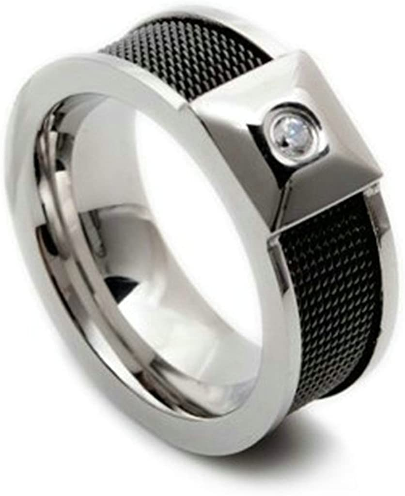 Bishilin 9MM Stainless Steel Two Tone White Zirconia Mens Engagement Band Wedding Rings Size 13