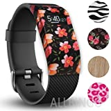 Fitbit Charge/HR Band Sock - More Styled and Super Cute - Fitbit Charge/Fitbit Charge HR Silicone Secure Band Cover Accessory with Different Colors and Patterns - Personalize Fitbit Charge/HR Wristband (Gorgeous Flower X1)