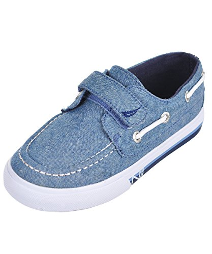 Blue Basket Chambray - Nautica Kids Little River Striped Foxing Boat Shoe -Sneaker -Casual Adjustable Straps -Toddler 7 Newcore Chambray