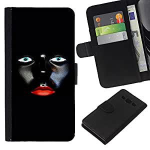 WINCASE Cuadro Funda Voltear Cuero Ranura Tarjetas TPU Carcasas Protectora Cover Case Para Samsung Galaxy A3 - mujer labios rojos del diseño del arte minimalista