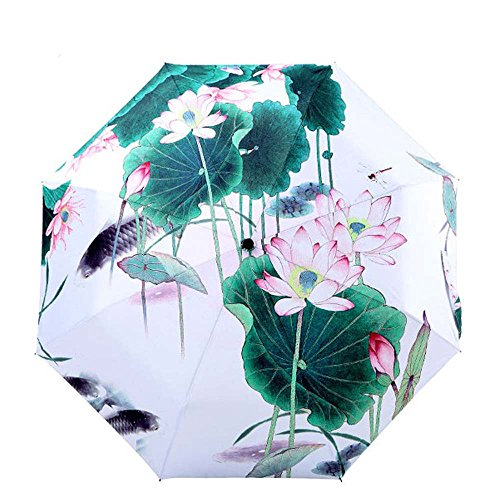 (Bbshop Water Lilies Manual 3 Folding Umbrella Parasol Pretty Rain Lotus Umbrella with UV Protection,UPF 50+)