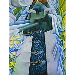 The Museum Outlet - Gino Severini - Armored Train in Action, Stretched Canvas Gallery Wrapped. 16x20""