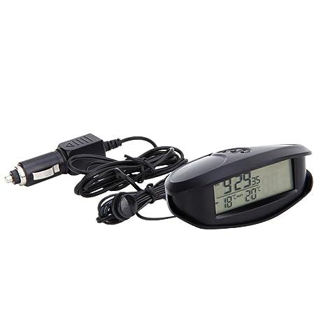 Homyl 12-24V Voltímetro Digital de Coche LED Reloj de 12/24 Horas,