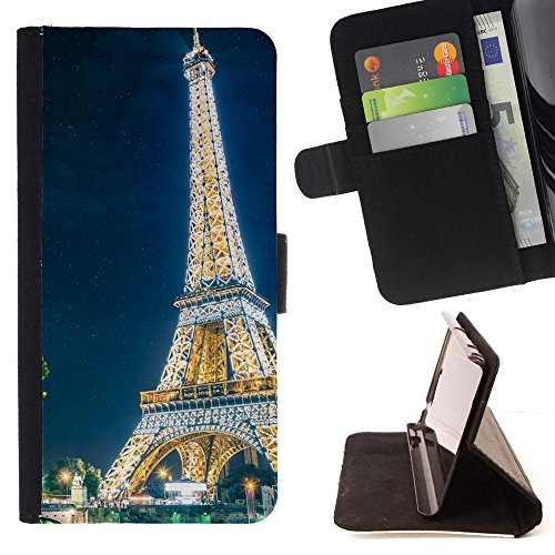 God Garden - FOR Apple Iphone 5 / 5S - Paris Eiffel Tower - Glitter Teal Purple Sparkling Watercolor Personalized Design Custom Style PU Leather Case Wallet Fli