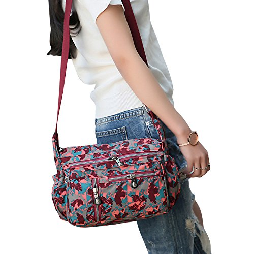 Bag Crossbody Women Purses Messenger Map Casual Wocharm Handbags Bags Nylon Red Shoulder aZq6Ww0g