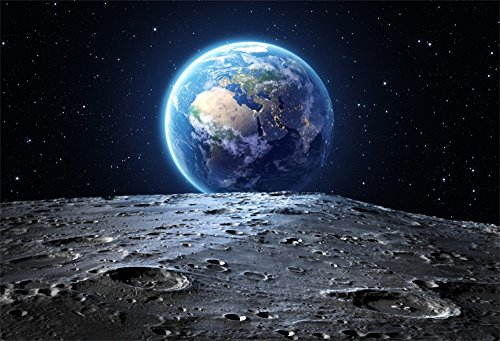 OFILA Universe Backdrop 7x5ft Earth Surface Planet Stars Footprints Outer Space Background Astronaut Party Event Decoration School Class Research Children Birthday Theme Kids Toddlers Shoots Video