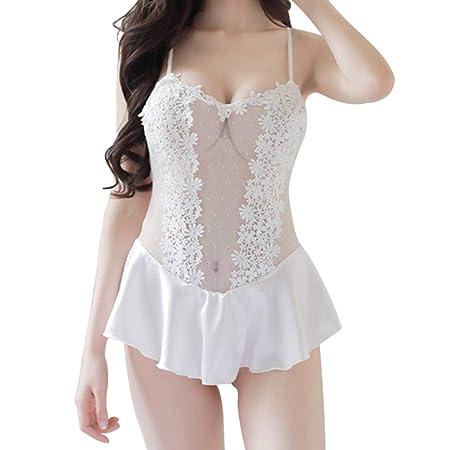 Amazon.com: AUWU Polka Malla de Encaje de la ropa Interior de las Mujeres de la muchacha Peplum Volante Opacidad empalme ropa de dormir: Health & Personal ...