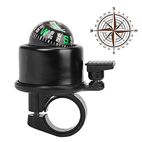 Ezyoutdoor 2 in 1 Bike Bell Ring and Ball Compass Bike Alarm Ring ,Aluminium Alloy MTB Bicycle Cycling Handlebar Bell Ring Horns Gradienter for Riding Travel Hiking Camping Backpacking BBQ (1 2 Inch Kids Pedals)