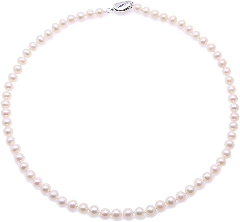 JYX Collar de perlas redondas de 6,5 mm con perlas cultivadas de agua dulce de color blanco collar de 45 cm