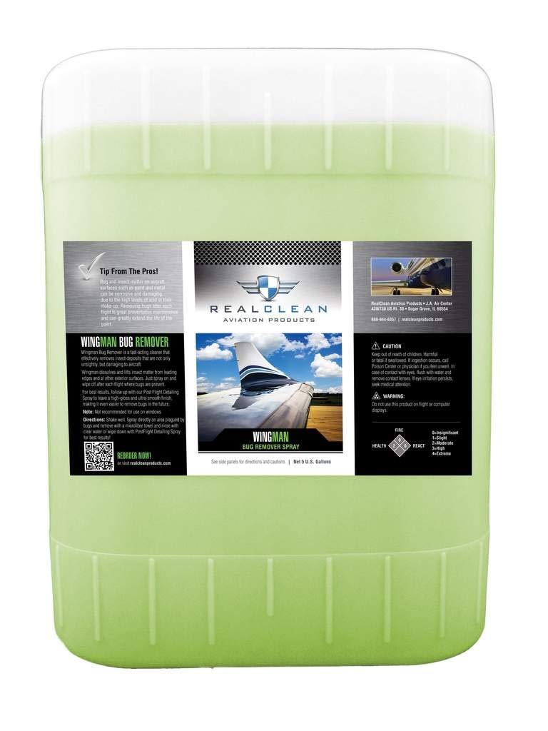 RealClean Aircraft Bug Remover Spray- Aviation Detailing and Cleaning- Wingman Bug Remover Aviation Products- Created by Pro Detailers- 5 Gallon