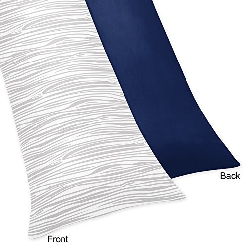 Sweet Jojo Designs Navy and Wood Grain Print Full Length Double Zippered Body Pillow Case Cover for Navy Blue, Mint and Grey Woodsy Collection
