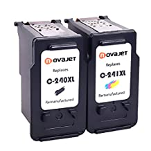 Novajet 1Set Remanufactured Ink Cartridge Replacement For Canon PG 240XL & CL 241XL (1Black,1Color)With Ink Level Indicator Used In CANON PIXMA 2120 2220 3120 3220 4120 4220 MX372 432 512