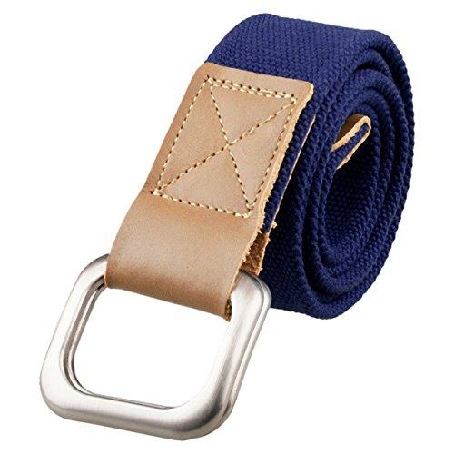 Samtree Canvas Belts for Men,D Ring Buckle Adjustable Military Style Leather Web Belt(44