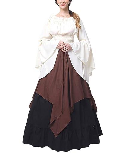 PengGengA Disfraz Traje Medieval para Mujer Traje Princesa Reina Dama Medieval Cosplay Criada