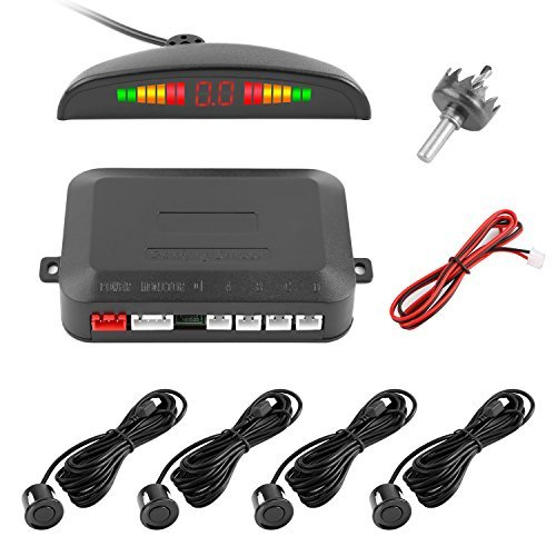 Reversing Sensor, YOKKAO LED Display Auto Rear Reverse Alert System Car Parking Sensor Backup Kit with 4 Sensors (Black)