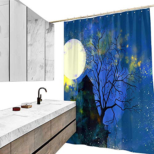 Curtain Decorative Shower, Halloween Background Pattern, W63 xL72, Waterproof and Polyester Bathtub Curtain. -