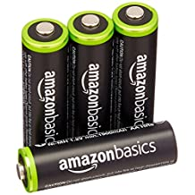 AmazonBasics AA Ni-MH Pre-Charged Rechargeable Batteries (4-Pack) - 1000 Cycle (Typical 2000mAh, Minimum 1900mAh)