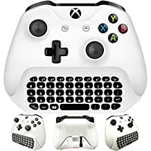Whiteoak Xbox One S Chatpad Mini Gaming Keyboard Wireless Chat Message KeyPad with Audio/Headset Jack for Xbox One & Elite & Slim Game Controller Gamepad - 2.4GHz Receiver included -White