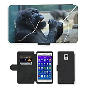 Super Stella Cell Phone Card Slot PU Leather Wallet Case // M00147793 Monkey Artis Zoo Mammal Nature // Samsung Galaxy Note 4 IV
