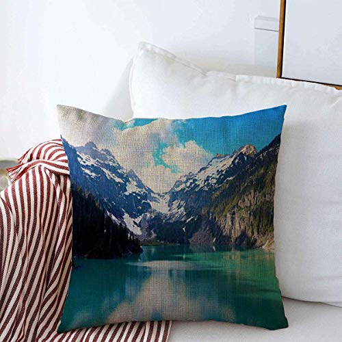 Decor Linen Throw Pillow Covers Green Blue Seattle Blanca Lake Washington State Located Meadow Henry Nature Mountain Calm Northwest Hiking 18x18 Inch Square Cushion Case for Home Decor (State Patio Washington Covers)