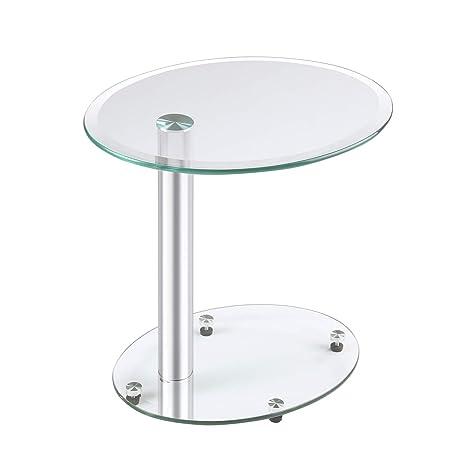 Rfiver Furniture Klarglas Couchtisch Beistelltisch Sofa Tisch Nachttisch Nesting Tisch Oval 45x35x45 H Cm Et3001
