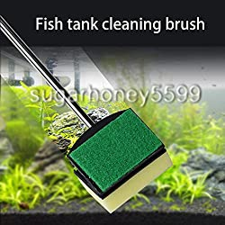New Glass Fish Tank Cleaner Remover Brush Plant Yellow Green Double Side Sponge Cleaning Brush Cleaner Tool Aquarium Brush