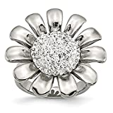 ICE CARATS Stainless Steel Clear Cubic Zirconia Cz Flower Band Ring Size 6.00 Flowers/leaf Fashion Jewelry Ideal Gifts For Women Gift Set From Heart