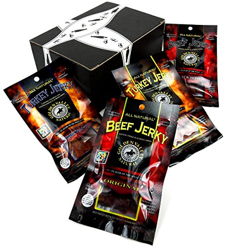 (Golden Valley Natural Jerky 4-Flavor Variety, 1 Ounce Packet Each of Original Turkey, Teriyaki Turkey, Original Beef, and Black Pepper Beef in a BlackTie Box (4 Items Total))