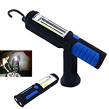 Itian COB LED Portable Work Lamp Torch Flashlight High Performance Flexible Swivel Inspection Lamp with Hanging Hook Magnetic Base Great for Camping Household Workshop