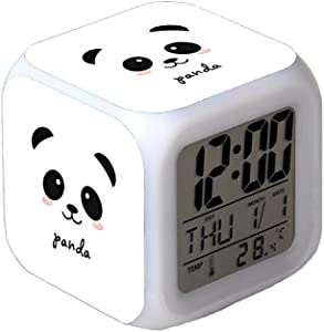 7Colors LED Changing Digital Alarm Clock Desk Thermometer Night Glowing Cube LCD Clock Home Decor Kawaii Panda Bear