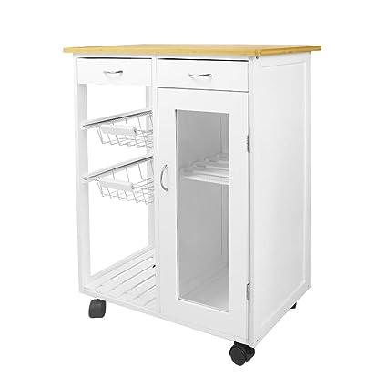 Amazon Com Toyeeka Wooden Table Kitchen Cart Wheels Rolling