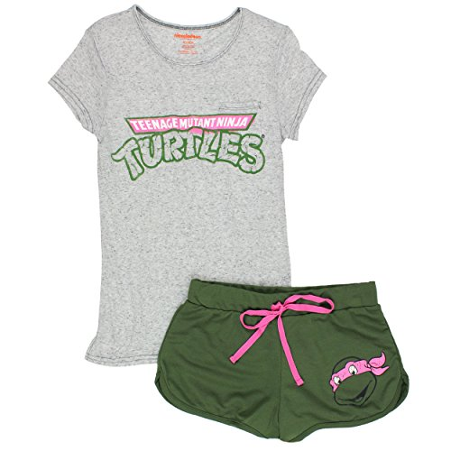 Adult Ninja Turtle Outfit (TMNT Teenage Mutant Ninja Turtles Juniors Womens Shorts Pajamas Set (Teen/Adult) (X-Large, TMNT Grey))