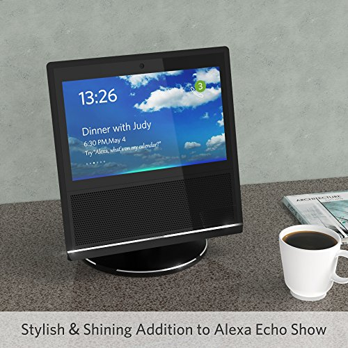Large Product Image of Stand for Echo Show, YoFeW Full Aluminum Stand Mount for Amazon Echo Show 360 Rotatable Metal Base Protector Accessories for Amazon Show with Precision Bearings, Black