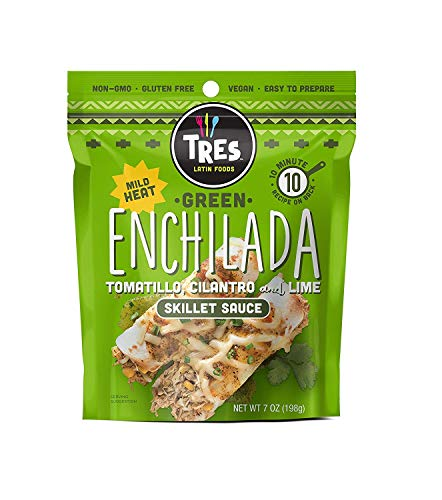 Tres Latin Foods Vegan Non-GMO Skillet Sauce, Green Enchilada, 6 Count