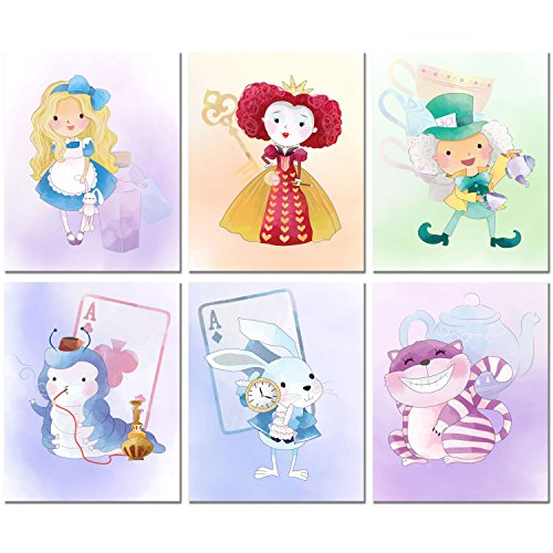 Alice in Wonderland inspired Original Watercolor Prints Set of 6 Nursery Wall Art Decor -