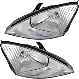 Driver and Passenger Halogen Headlights Headlamps with Chrome Bezels Replacement for Ford 3S4Z 13008 CD 3S4Z 13008 CA