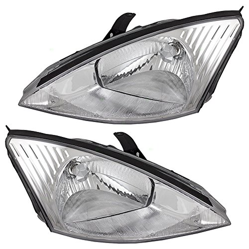 Halogen Headlights Headlamps with Chrome Bezels Driver and Passenger Replacements for 00-04 Ford Focus 3S4Z 13008 CD 3S4Z 13008 CA