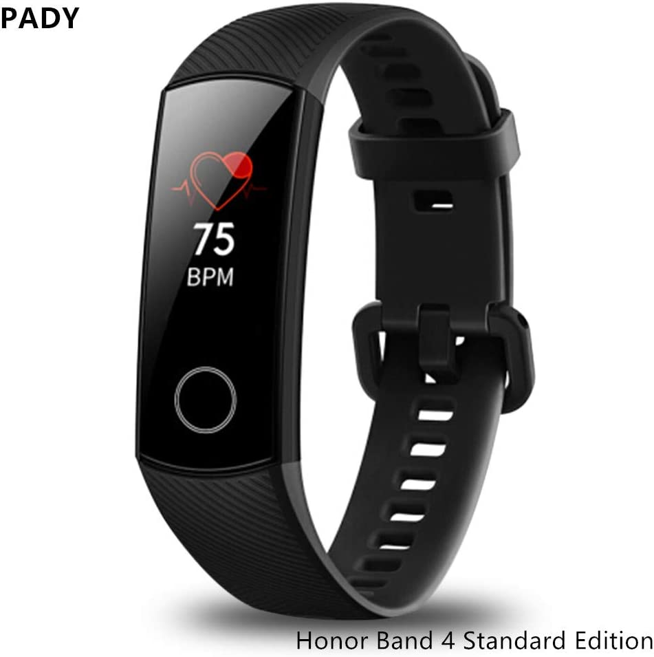 luckyruby Honor Band 4 6-Axis Inertial Heart Rate Monitor Infrared Light Wear Detection Sensor Full Touch AMOLED Color Screen Home Button All-in-One Activity Tracker 5ATM Waterproof (Meteorite Black)