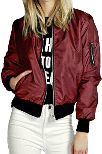 Cerniera Sono Red Al Con Colletto Giacche Occasionale La Donne Bomber Tasca Nimpansa Rq5xt4wUy