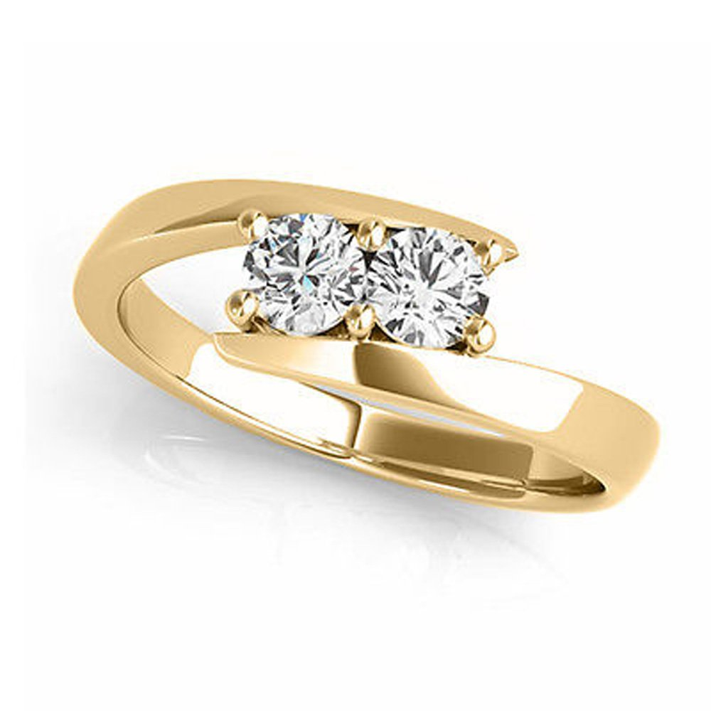 Two Stone Ring Forever 1/4ct two Diamond in 14K Yellow Gold (I-J / I2-I3) (7)