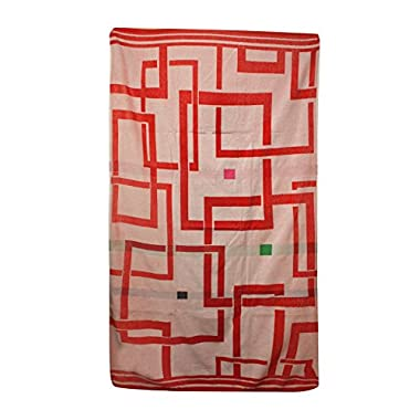 Northpoint Kerala Oversized Double Jacquard Plush Velour Beach Towel, 40 by 70-Inch, Ayuverdic Mystical Pours in Red