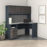Series A 60W Corner Desk with Hutch and 2 Drawer Pedestal