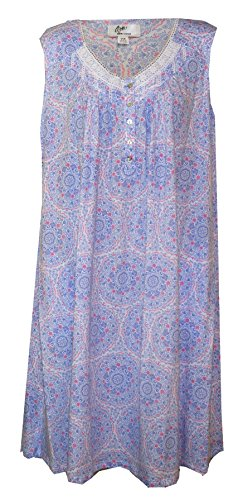 Aria Medallion Print Plus Size Cotton Sleeveless Nightgown (Periwinkle Blue (Lilac) Medallion Print with Pink Detail, 1X) (Periwinkle Nightgown)