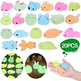LEEHUR 2nd Generation 20pcs Mochi Glitter Squishies Animals Toys Kids Party Favor Glow in The Darkness Squeeze Squishy Kawaii Sensory Stress Anxiety Reliever Xmas Gift